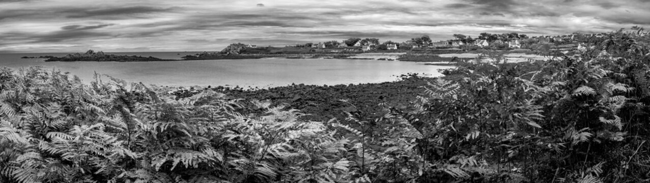 Black and white panorama in Brittany
