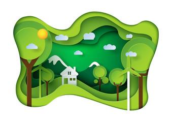 Green eco friendly living house paper carve background.Nature landscape and environment conservation concept design.Vector illustration.