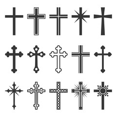 Christian Cross Icons Set on White Background. Vector