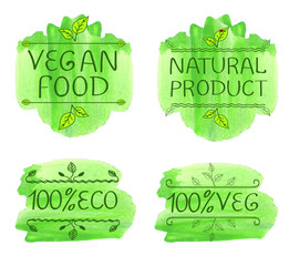 Hand-drawn typographic elements for design. Eco products and vegan food. Watecolor green splash, VECTOR.