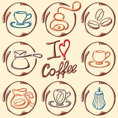 Vector coffee contour icons. I love coffee. Suitable for cafe, coffee shop, coffee house or poster. EPS10