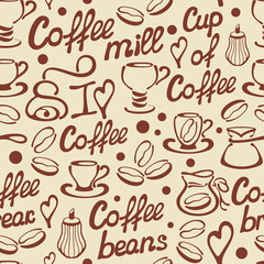 Seamless pattern with vector coffee elements and words. Suitable for wallpaper, wrapping or textile. EPS10