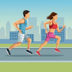 Marathon in the city cartoon