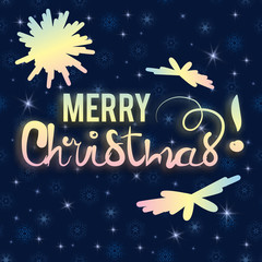 Elegant greeting card design with stylish text Merry Christmas.  On a bright seamless background of snowflakes