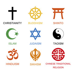 Vector illustration. World religious signs and symbols collection in colour with inscriptions