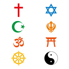 Vector illustration. World religious signs and symbols collection in colour.