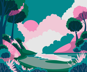 Fantasy landscape with sun, trees and river. Vector illustration