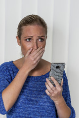 woman is shocked by sms