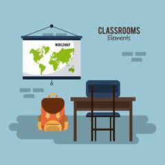 Classroom elements design icon vector illustration graphic design