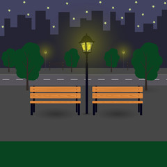 Night city landscape with benches, street lights, trees. Flat vector illustration.