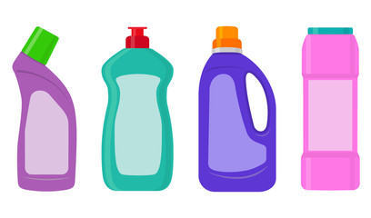 The bottles of detergent, washing powder, detergent powder, bottle of spray, a means for washing dishes. A simple illustration in the flat style, isolated on white background.