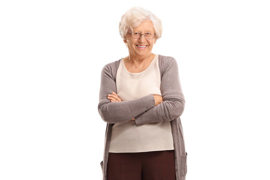 Elderly woman with her arms crossed