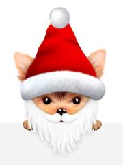Funny Dog Santa with beard. Christmas concept