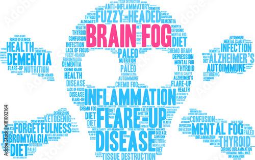 Brain Fog Word Cloud on a white background