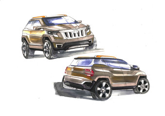 Design sporty exterior car is drawing brush color painting. Vehicle is dynamics and type off road. Sketch is sketched with lights lines and luxurious curves.