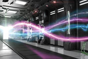 Helle Lichtstrahlen aus Energie im Sci-Fi Raumschiff