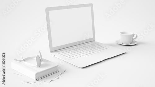 schreibtisch in wei mit laptop computer zdj. Black Bedroom Furniture Sets. Home Design Ideas