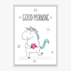 Cute unicorn print for kids. good morning card