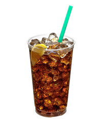 Fototapeta Cola with ice in takeaway cup on white background