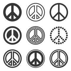 Hippie Peace Signs Set on White Background. Vector