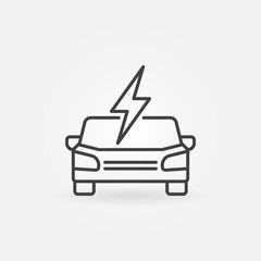 Electric car front view icon in thin line style