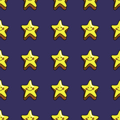 Seamless pattern with cute smiling stars on dark violet blue background.
