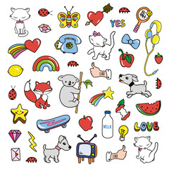 Stickers collections in pop art style isolated on white background.