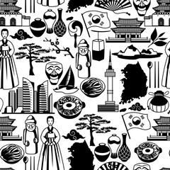 Korea seamless pattern. Korean traditional symbols and objects