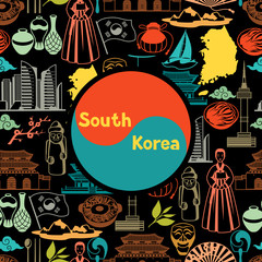 Korea background design. Korean traditional symbols and objects