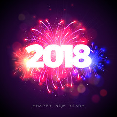 Happy New Year 2018 Illustration with Firework and 3d Text on Shiny Blue Background. Vector Holiday Design for Premium Greeting Card, Party Invitation or Promo Banner.