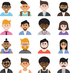A set of avatars in a flat style. Faces of people.