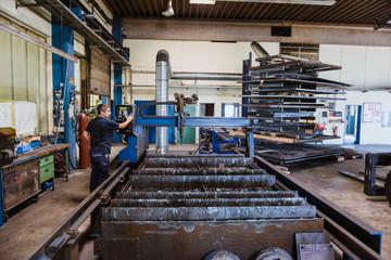 Man working in steel factory