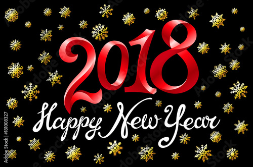 vector 2018 new year black gold snowflakes background with red glitter premium design template for holiday
