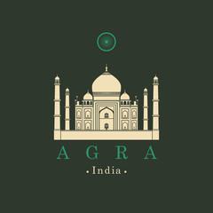 Vector travel banner. The mausoleum mosque Taj Mahal in Agra. Indian landmark