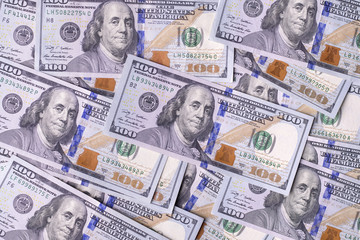Heep of hundreds american dollars detailed background