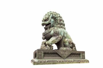 Aluminium Prints Historic monument bronze lion statue isolated