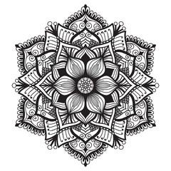 Hand drawn mandala. Decorative round design element on white background.