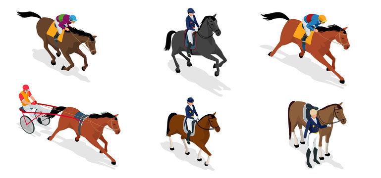 Isometric set Jockey on horse