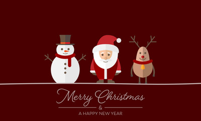 "Grußkarte ""Merry Christmas"" - Figuren (Rot)"
