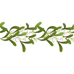 Mistletoe is a white, seamless pattern, garland. Decorative christmas frame element, site, brush .Vector illustration.