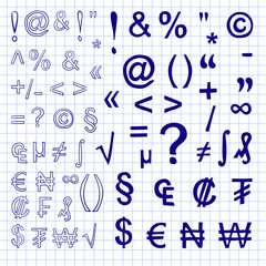 VECTOR. Set of hand drawn signs isolated on white. Freehand drawings. Blue on notebook page