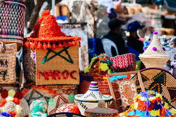 colorful handicrafts at moroccan market