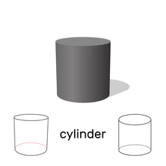 Cylinder. Geometric shape. Isolated on white background. Vector illustration.