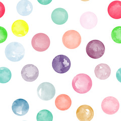 Vector watercolor circles seamless pattern. Different watercolor colors. It can be used as wallpaper, desktop, printing, wrapping, fabric or background for your blog, covers and your design.