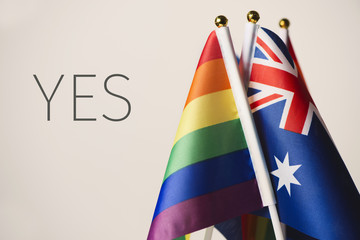 word yes and australian and rainbow flags