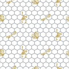 Netting outline seamless pattern with gold glitter insects. Trendy glam wallpaper texture vector with silhouettes on white.