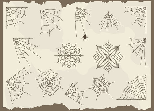 Cobweb vector frame border set and dividers isolated on grunge background with spider web for spiderweb scary design