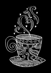 Sketchy of coffee cup with aroma