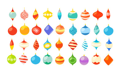 Different christmas bauble clipart isolated on white. Christmas greeting card template