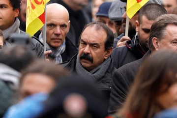 French CGT labour union leader Philippe Martinez attends a demonstration against French government labour reforms in Paris